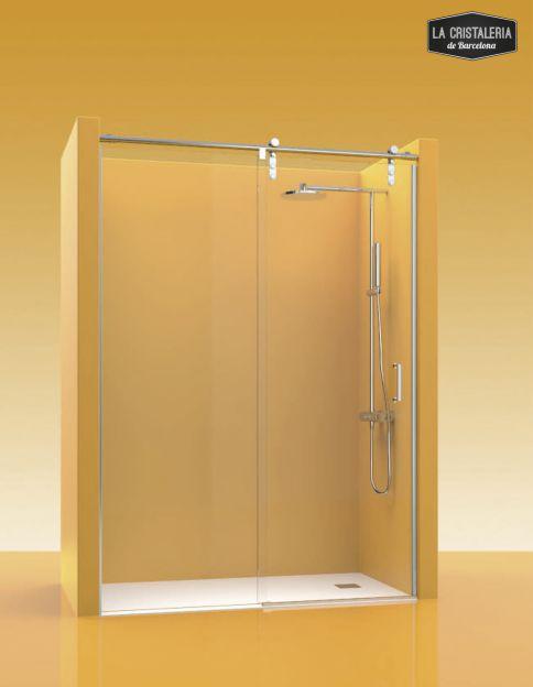 Puerta corredera para mampara de ducha la cristaleria de for Puertas correderas barcelona
