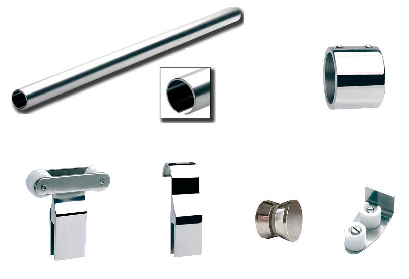 Mampara corredera inox la cristaleria de barcelona for Accesorios para el bano en acero inoxidable