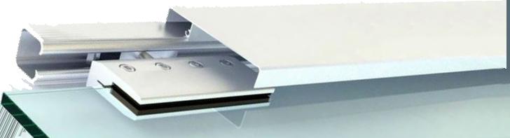 puerta corredera de cristal montada con una gua de aluminio que puede ir sujetada a la pared o al techo