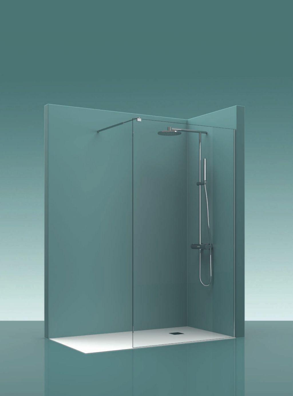 Mampara fia de cristal para el baño | La Cristaleria de Barcelona