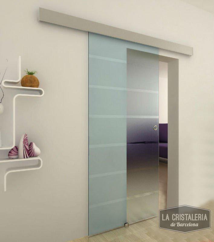 Puertas correderas con gu a de aluminio la cristaleria for Puertas interiores de aluminio y cristal