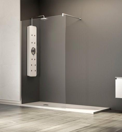 Puertas De Baño Minimalistas:Mampara fia de cristal para el baño